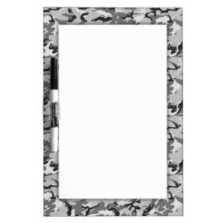 Urban Camouflage Pattern - Black & Grey Dry Erase Board