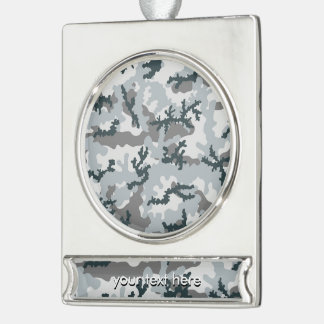 Urban camouflage silver plated banner ornament