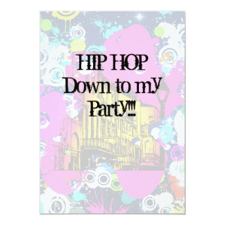 urban city graffiti paint splatter hip hop party card