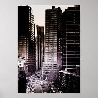 Urban City Skyscraper Traffic Poster