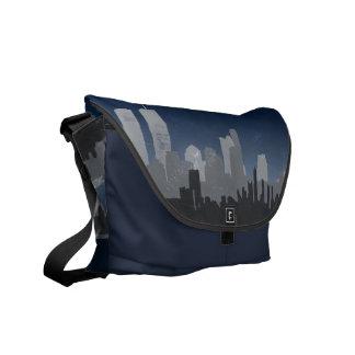 Urban City Sprawl Sky Line Messenger Bag (blue)