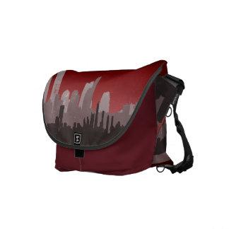 Urban City Sprawl Sky Line Messenger Bag (red)