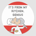 urban comic chef skillet cooking gift tag stick... round sticker