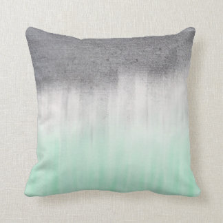 Urban concrete, green mint cushion