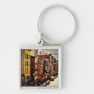 Urban Density - New York City Silver-Colored Square Key Ring