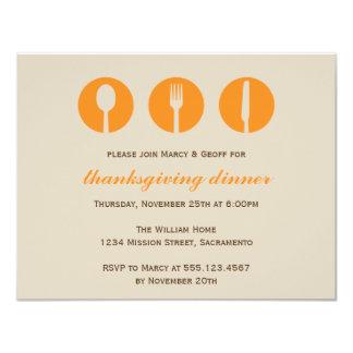 Urban dinner party orange utensil Thanksgiving 11 Cm X 14 Cm Invitation Card