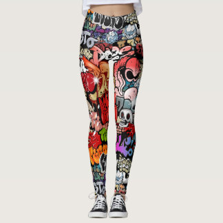 Urban dynamic street art Graffiti art pattern Leggings