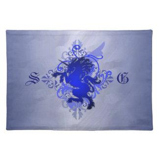 Urban Fantasy Monogram Blue Unicorn Placemats