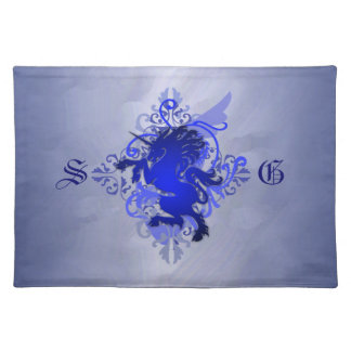 Urban Fantasy Monogram Blue Unicorn Placemats