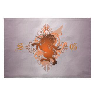 Urban Fantasy Monogram Orange Unicorn Placemats