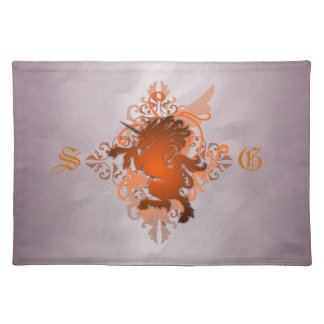Urban Fantasy Monogram Orange Unicorn Placemats
