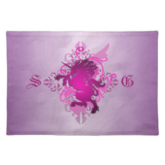 Urban Fantasy Monogram Pink Unicorn Placemats