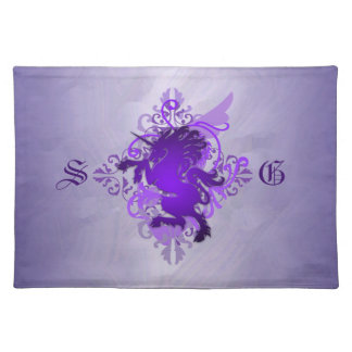 Urban Fantasy Monogram Purple Unicorn Placemats