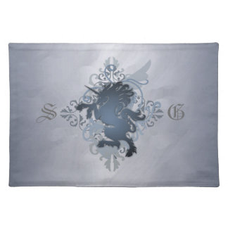 Urban Fantasy Monogram Silver Unicorn Placemats