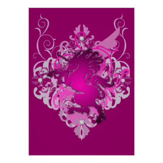 Urban Fantasy Pink Jeweled Unicorn Poster