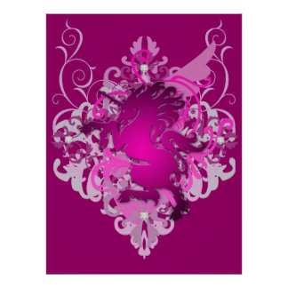 Urban Fantasy Pink Jeweled Unicorn Poster