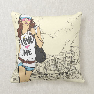 Urban Girl  American MoJo Pillow Cushion