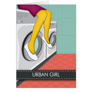 Urban girl sitting in a laundry in the big city card