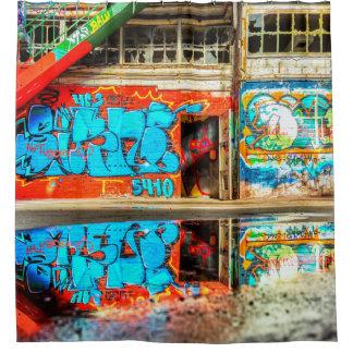 Urban Graffiti Art Lost  Abandoned Building Shower Shower Curtain