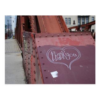Urban graffiti thank you postcard