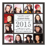 Urban Grey Brown 12 Photos Graduation Party Personalised Announcements