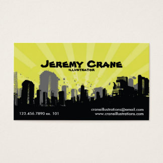 Urban Grunge Cityscape - Yellow Business Card