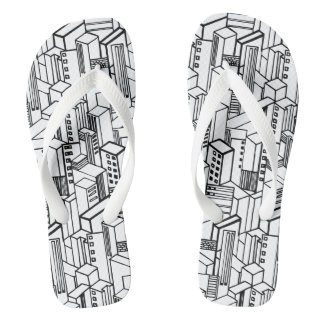Urban hand drawn pattern flip flops