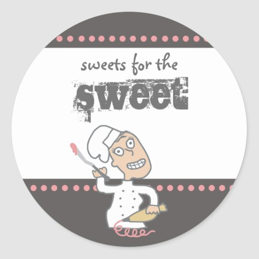 urban indie comic pastry chef baking gift tag s... round sticker