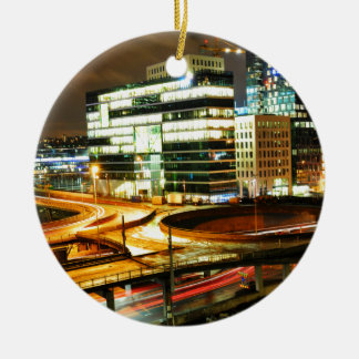 Urban landscape at night in Oslo, Norway Christmas Ornament