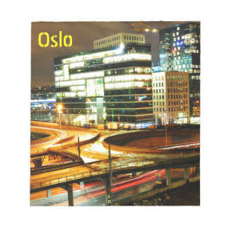 Urban landscape at night in Oslo, Norway Notepad