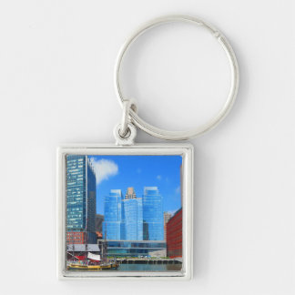 Urban Landscape n Lake Views from Boston City USA Silver-Colored Square Key Ring