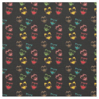 Urban Lights Black Colorful Owls Fabric Material