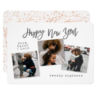 URBAN MODERN HAPPY NEW YEAR(ROSE GOLD/COPPER) CARD