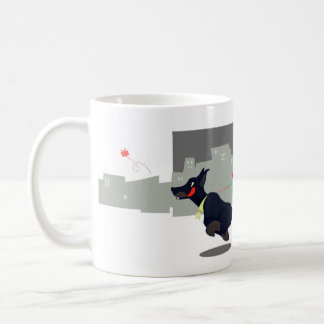 Urban monster with a doberman coffee mug