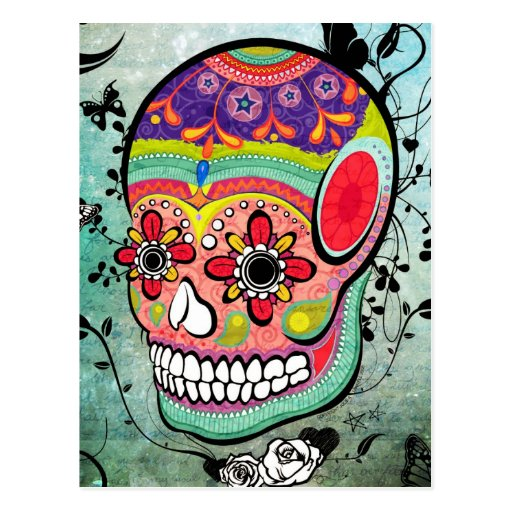 Urban Muerte Day of the Dead Illustrated Postcard