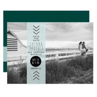 Urban Opaque Blue Band | Save the Date Photo Card