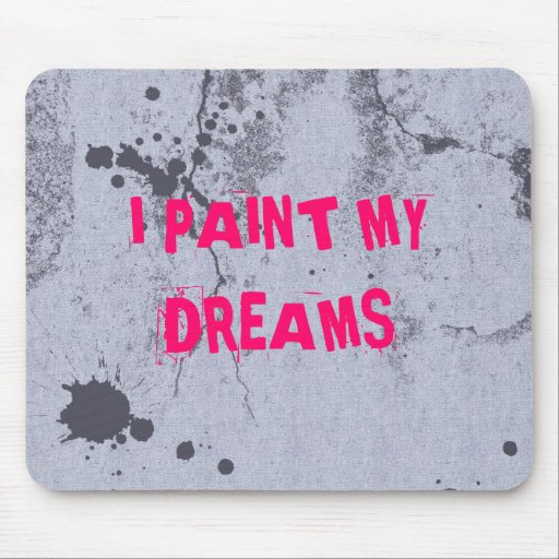 Urban paint splatter with pink text mouse mats