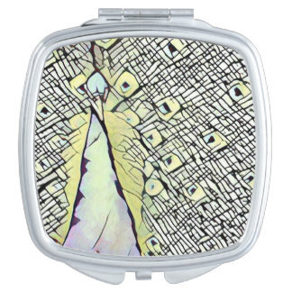 Urban Peacock Design Square Compact Mirror