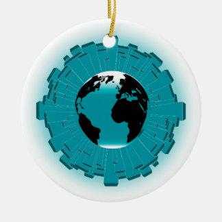 Urban Planet Earth Round Ceramic Decoration