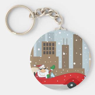Urban Santa in Sleek Car Basic Round Button Key Ring