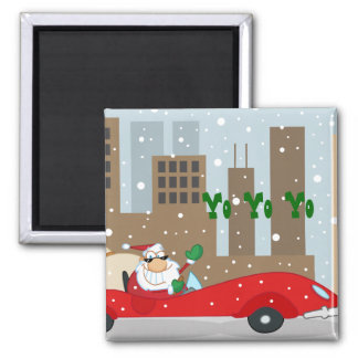 Urban Santa in Sleek Car Square Magnet