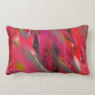Urban Scratch: Red and pink Lumbar Cushion