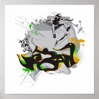 urban skateboard graffiti poster