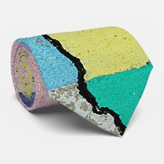 Urban Street Art in Pastels on Cracked Cement Tie