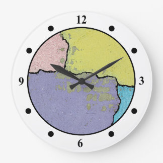 Urban Street Art in Pastels on Cracked Cement Wall Clock