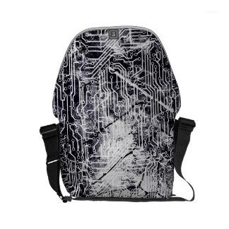 Urban Street Style Circuit Board Grunge Pattern Messenger Bags