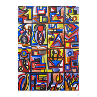 Urban Street Two-Hand Painted Abstract Geometric Acrylic Print