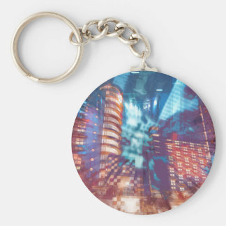 Urban Structures Abstract Basic Round Button Key Ring