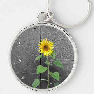Urban Sunflower Silver-Colored Round Key Ring