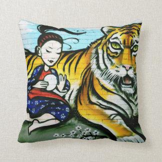 Urban Tiger Geisha Graffiti art Cushion
